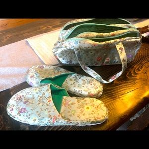 Vintage satin slippers & matching toiletry bag